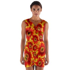 Gerbera Flowers Blossom Bloom Wrap Front Bodycon Dress