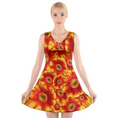 Gerbera Flowers Blossom Bloom V Neck Sleeveless Skater Dress
