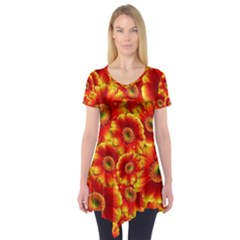 Gerbera Flowers Blossom Bloom Short Sleeve Tunic