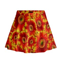 Gerbera Flowers Blossom Bloom Mini Flare Skirt