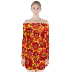 Gerbera Flowers Blossom Bloom Long Sleeve Off Shoulder Dress