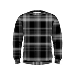 Plaid Checks Background Black Kids  Sweatshirt