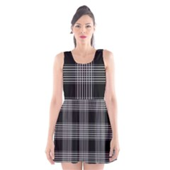 Plaid Checks Background Black Scoop Neck Skater Dress