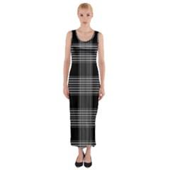 Plaid Checks Background Black Fitted Maxi Dress