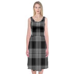 Plaid Checks Background Black Midi Sleeveless Dress