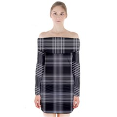 Plaid Checks Background Black Long Sleeve Off Shoulder Dress