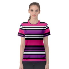 Stripes Colorful Background Women s Sport Mesh Tee