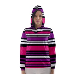 Stripes Colorful Background Hooded Wind Breaker (Women)