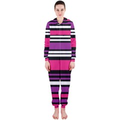 Stripes Colorful Background Hooded Jumpsuit (Ladies)