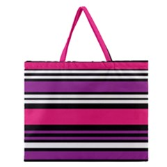 Stripes Colorful Background Zipper Large Tote Bag