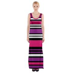Stripes Colorful Background Maxi Thigh Split Dress