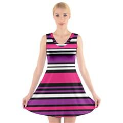 Stripes Colorful Background V Neck Sleeveless Skater Dress