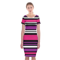 Stripes Colorful Background Classic Short Sleeve Midi Dress