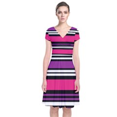 Stripes Colorful Background Short Sleeve Front Wrap Dress