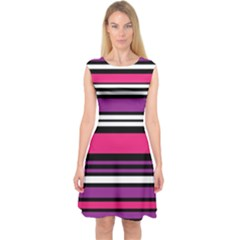 Stripes Colorful Background Capsleeve Midi Dress