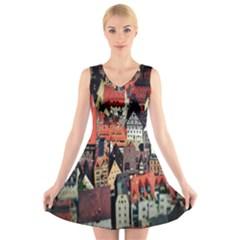 Tilt Shift Of Urban View During Daytime V Neck Sleeveless Skater Dress