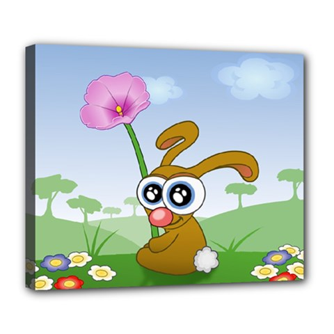 Easter Spring Flowers Happy Deluxe Canvas 24  x 20