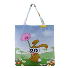 Easter Spring Flowers Happy Grocery Tote Bag