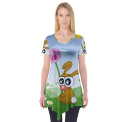 Easter Spring Flowers Happy Short Sleeve Tunic