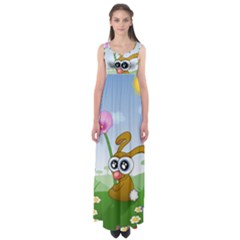 Easter Spring Flowers Happy Empire Waist Maxi Dress