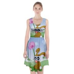 Easter Spring Flowers Happy Racerback Midi Dress