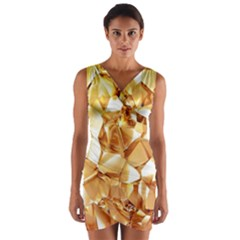 Golden crystals Wrap Front Bodycon Dress