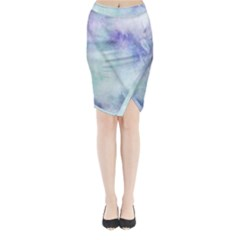 Blue hipster pattern Midi Wrap Pencil Skirt