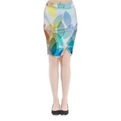 Rainbow feather Midi Wrap Pencil Skirt