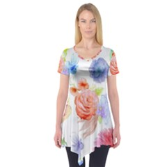 Watercolor Colorful Roses Short Sleeve Tunic
