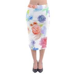 Watercolor colorful roses Midi Pencil Skirt