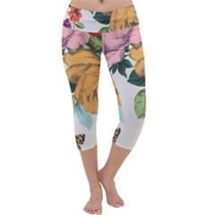 Vintage flower Capri Yoga Leggings