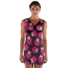 Strawverry Wrap Front Bodycon Dress