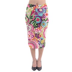 Colorful flower pattern Midi Pencil Skirt