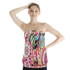 Colorful flower pattern Strapless Top