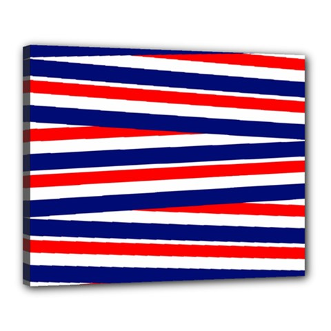 Red White Blue Patriotic Ribbons Canvas 20  x 16