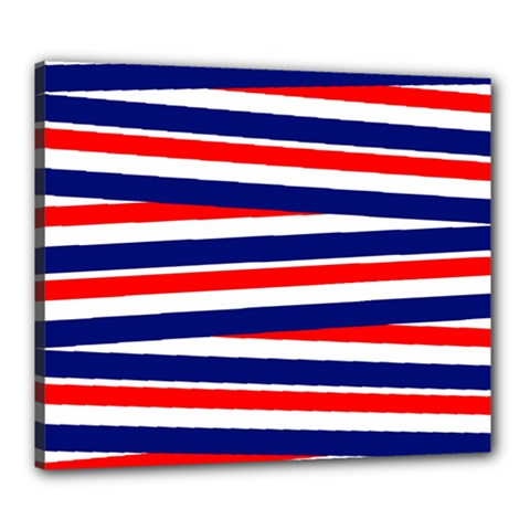 Red White Blue Patriotic Ribbons Canvas 24  x 20