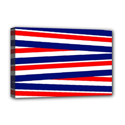 Red White Blue Patriotic Ribbons Deluxe Canvas 18  x 12