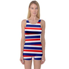Red White Blue Patriotic Ribbons One Piece Boyleg Swimsuit