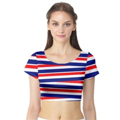 Red White Blue Patriotic Ribbons Short Sleeve Crop Top (Tight Fit)