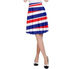 Red White Blue Patriotic Ribbons A-Line Skirt