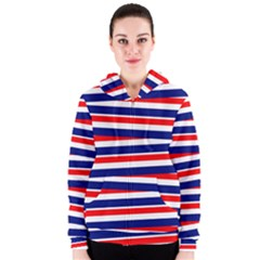 Red White Blue Patriotic Ribbons Women s Zipper Hoodie
