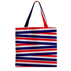 Red White Blue Patriotic Ribbons Zipper Grocery Tote Bag