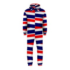 Red White Blue Patriotic Ribbons Hooded Jumpsuit (Kids)