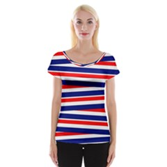 Red White Blue Patriotic Ribbons Women s Cap Sleeve Top