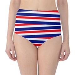 Red White Blue Patriotic Ribbons High-Waist Bikini Bottoms