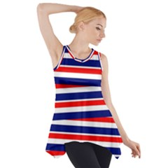Red White Blue Patriotic Ribbons Side Drop Tank Tunic