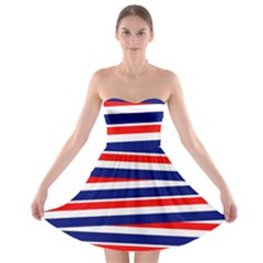 Red White Blue Patriotic Ribbons Strapless Bra Top Dress