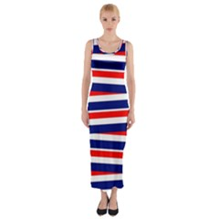 Red White Blue Patriotic Ribbons Fitted Maxi Dress