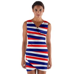Red White Blue Patriotic Ribbons Wrap Front Bodycon Dress