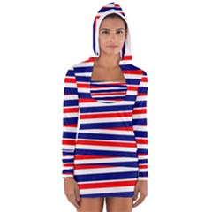 Red White Blue Patriotic Ribbons Women s Long Sleeve Hooded T-shirt